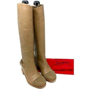 💯 Auth Christian Louboutin Studs ToesLeatherBoots